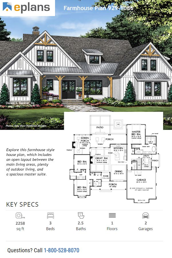 Farmhouse Style House Plan 3 Beds 2 5 Baths 2258 Sq Ft Plan 929 1086 In 2020 Family House Plans Farmhouse Style House Plans Farmhouse Style House