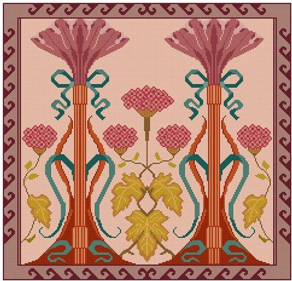 Romance Art Nouveau cross stitch pattern PDF floral by Whoopicat, $4.99