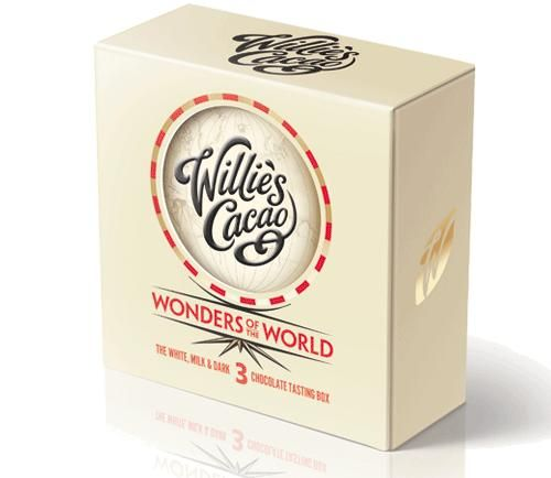 Wonders Of The World Tasting Gift Pack  The Ultimate Milk, White and Dark Chocolates and a map of Willie's World of Cacao.