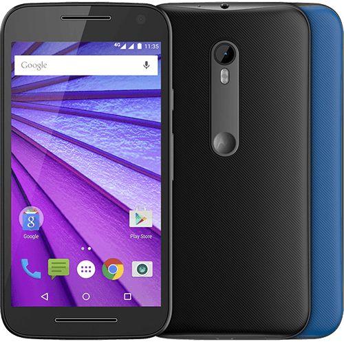 """Smartphone Motorola Moto G (3ª Geração) Colors Dual Chip Android 5.1 Tela 5"""" 16GB 4G Câmera 13MP - Preto + 1 Capa Azul-Click e Confira!"""