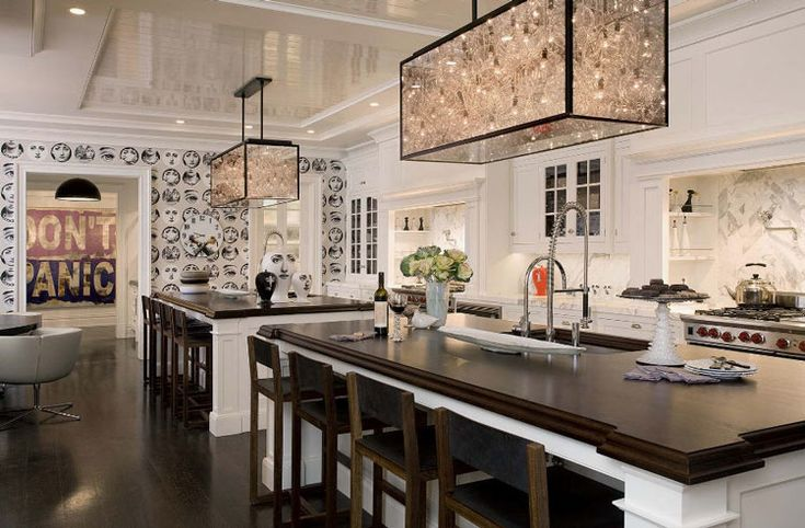 these lighting fixtures!: Kitchens Design, Dreams Kitchens, Lights Fixtures, Kitchens Ideas, Awesome Kitchens, Dark Wood, Large Kitchens, Double Islands, Open Kitchens