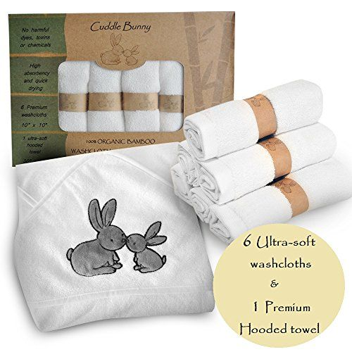 Organic Bamboo Baby Hooded Towel And Washcloth Set 7 Pack By Cuddle Bunny Organics Extra Soft And Gentle Hooded Baby Towel Hooded Towel Baby Shower Gifts