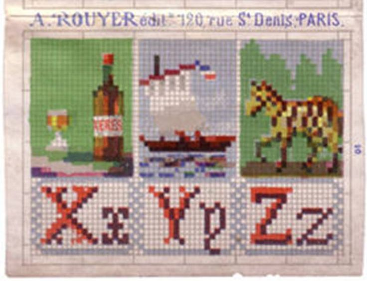 W--not really a letter in 19th-century French X is for Sherry (xeres) cultural difference here, I don't think we put alcoholic drinks in our abc's Y is for Yacht Z is for Zebra (zebre)