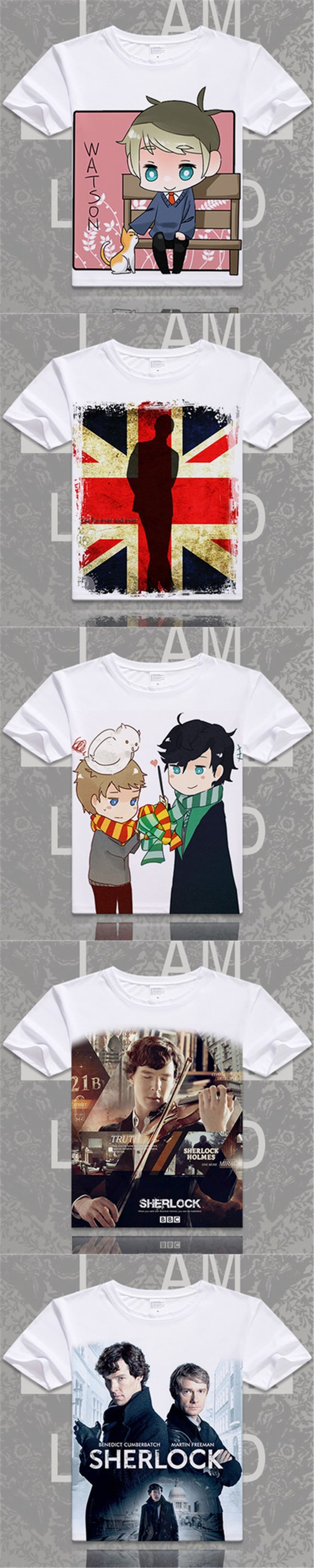 Fashion Movie Sherlock Holmes Printed O-Neck Short Sleeve T-shirts John H Watson Casual Tops Tees