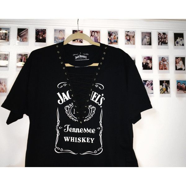 LF Inspired Lace Up Top Vintage Jack Daniels Tee ($50) ❤ liked on Polyvore featuring tops, t-shirts, vintage tees, vintage tops, lace up t shirt, vintage t shirts and laced tops