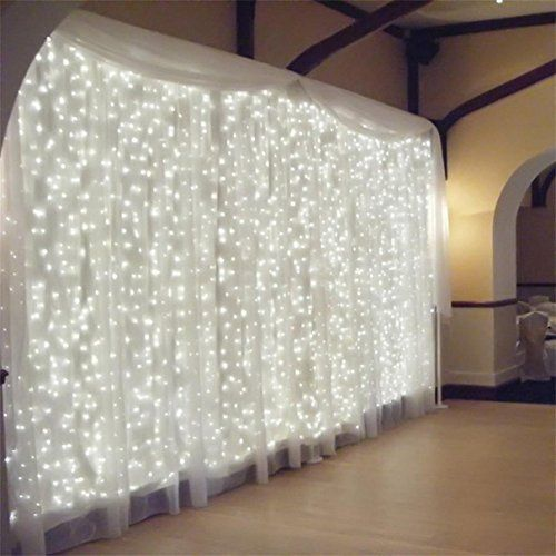 AMARS UL Certificated 31V Wedding Party String LED Curtain Lights Fairy LED Window Lights Outdoor Indoor for Christmas  Bedroom Garden Living Room Patio 98ft 98ft White ** Want to know more, click on the image.