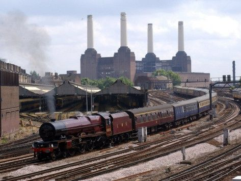 Princess Elizabeth Steaming into Victoria Station with Battersea Power Station in the background