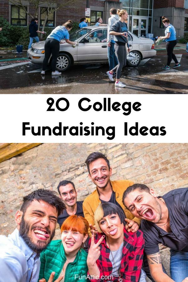 20 College Fundraising Ideas. Visit FunAttic.com for more college fundraising ideas that will help any college club earn money for trips, donations, and equipment.