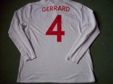 2009 2010 England L/s Gerrard Adults XL Home Classic Football Shirt Vintage Soccer Jersey