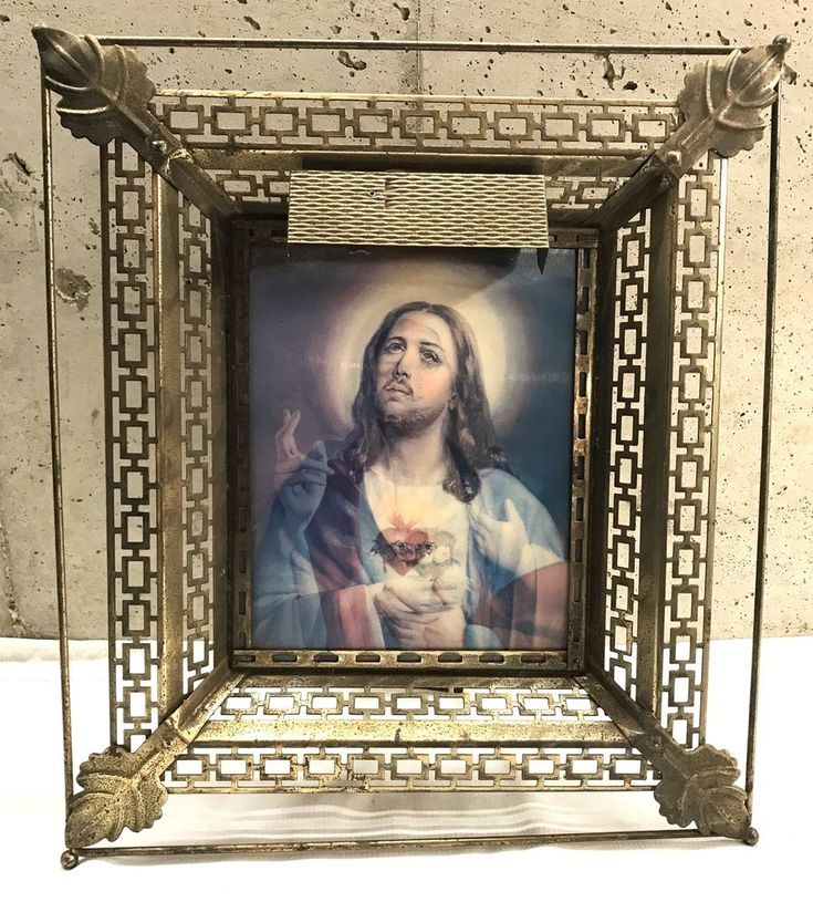 Holographic Jesus and Mother Virgin Mary Hologram Picture Metal Frame Catholic