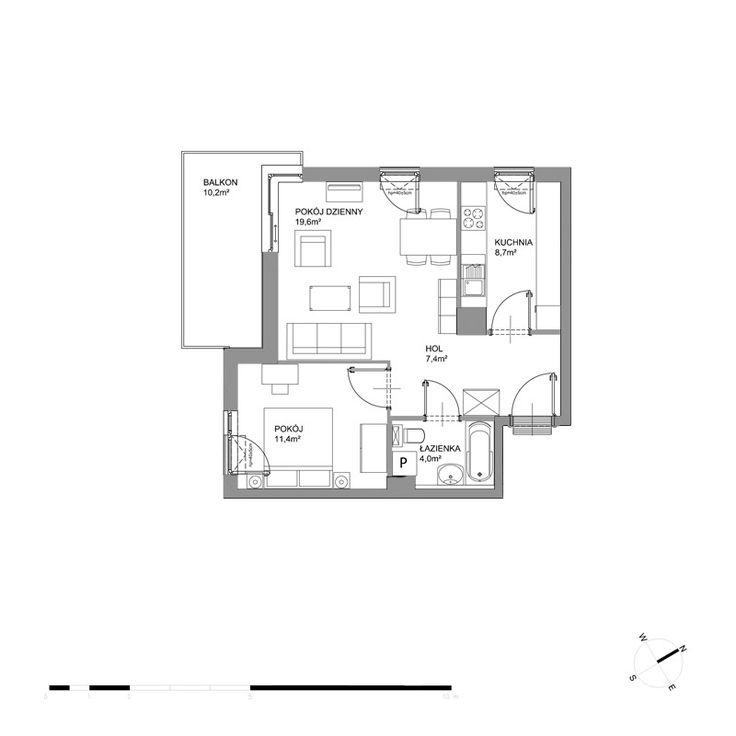 A224 - Piętro I - Budynek A2 - Plany mieszkań - Bursztynowa - Gdańsk - Mieszkania - Oferta - Invest Komfort