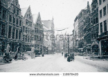 Antwerp at Winter Snowstorm. Horizontal toned image