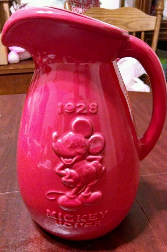 Mickey Mouse Ceramic Pitcher Red *New out of box