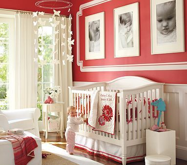 """Milano Red by Benjamin Moore. Even though this is a nursery (that I love), I would use it for our tiny powder room in the foyer. """"As its name implies, this rich, European red has a slight pink cast. A beguiling choice for a dining room or entrance way, it is both glamorous and versatile. -Benjamin Moore"""""""