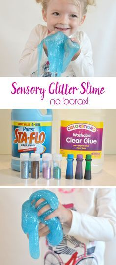 Easily make DIY Glitter Slime for sensory preschool play time - No Borax