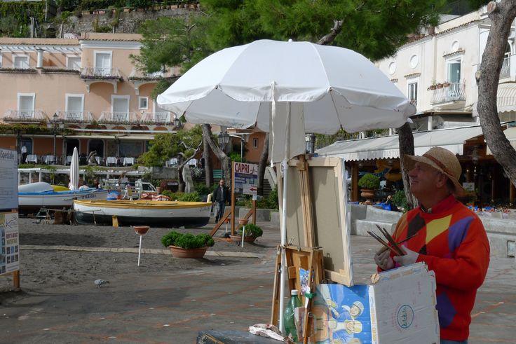 Painter on the Beach of Positano