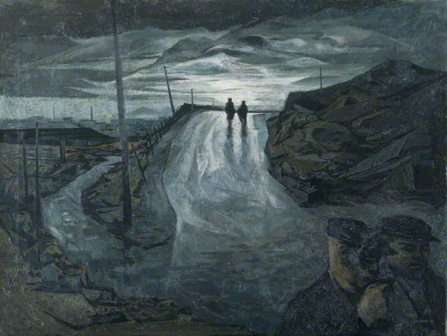Miners returning on a wet evening - John Elwyn paintings