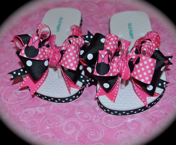 Custom Boutique Ladies Womens Mommy Disney Vacation Hot Pink Black Princess  MINNIE MICKEY MOUSE Party Ribbon Flip Flops m2m Free Ship via Etsy
