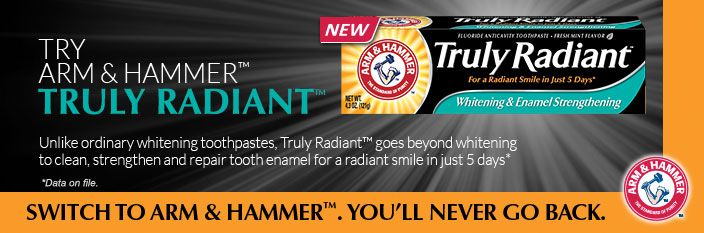 FREE Arm & Hammer Truly Radiant Toothpaste Sample! http://becomeacouponqueen.com