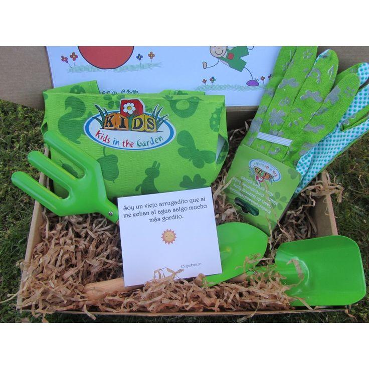 Kit Huerto Infantil que fomentan el cuidado del medio-ambiente y el contacto con la naturaleza. Guantes, herramientas. delantal