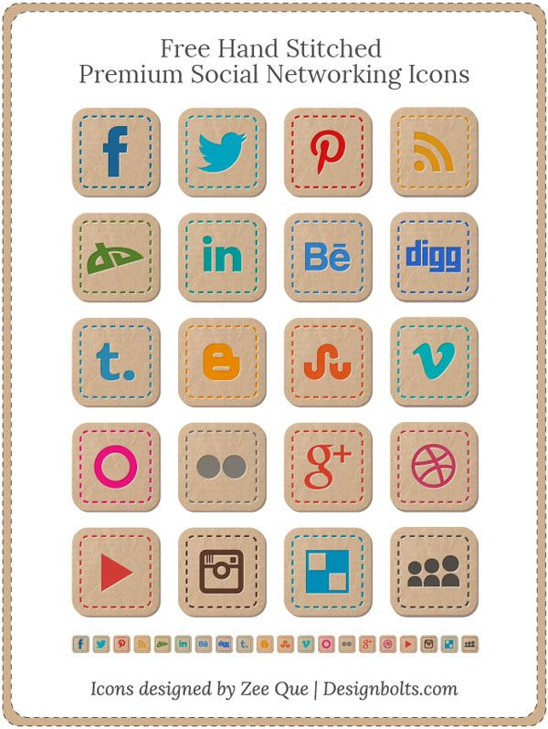 Free Hand Stitched Premium Social Networks Icons