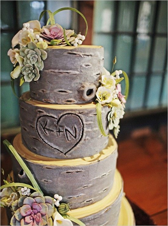 Rustic wedding cake - love the tree idea with initials carved in it