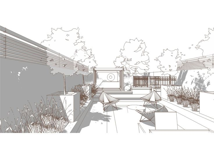 "Bowles and Wyer, garden perspective, Sketchup, line render -AutoCad/PhotoShop/Illustrator? I really like the ""cool"" color pallet used in this. For some reason the lack of color is what makes this one interesting"