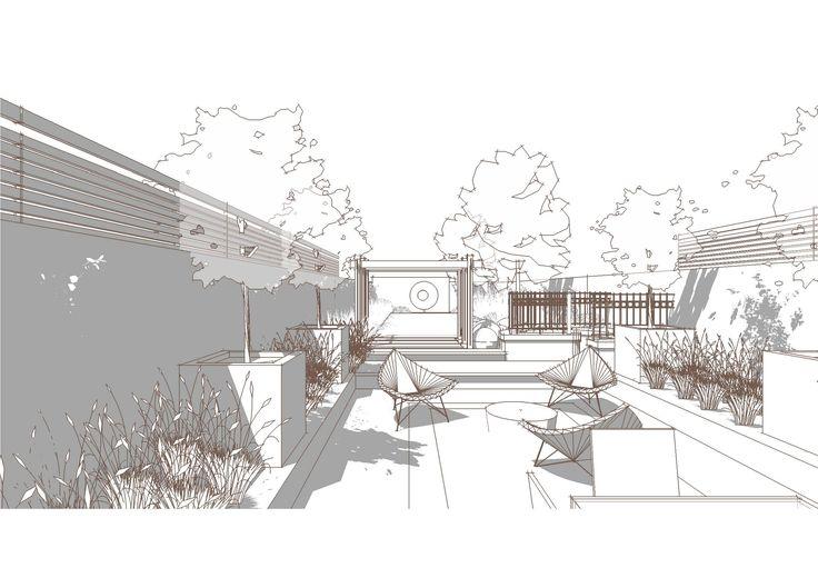 Line Art Render : Bowles and wyer garden perspective sketchup line render