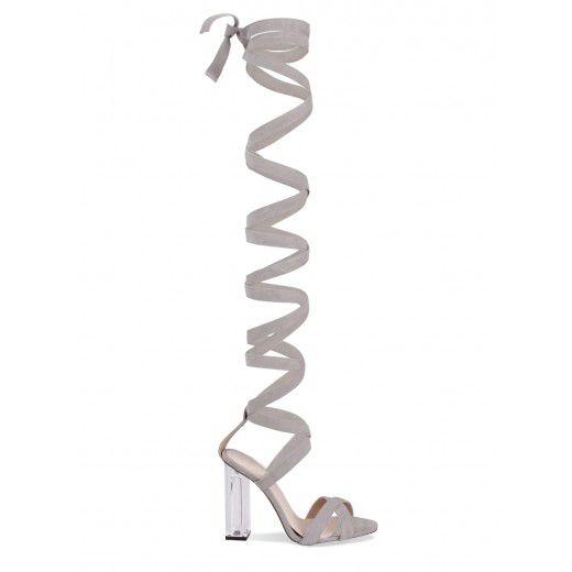 Sexy Frauen Gladiator Stil Sandale Kniehohe Sommer Schuhe Sandalen High Heels Benutzerdefinierte Farben Beige Kleid Stiefel Sandalen Klare Heels //Price: $US $94.05 & FREE Shipping //     #clknetwork