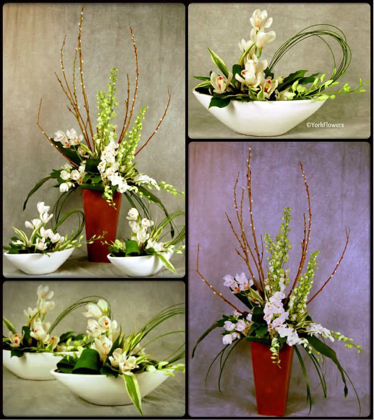 Using Filler In Fluff In Home Decor Making Arrangements: Pussy Willow, Orchids, White Hybrid Delphinium