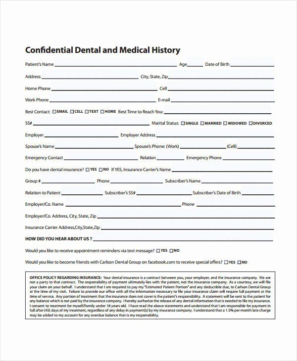 Dental Patient Forms Template Best Of Medical History Form 9 Free