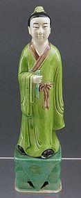 Tall Chinese Sancai Porcelain Man Scholar Male Figure Statue Lohan