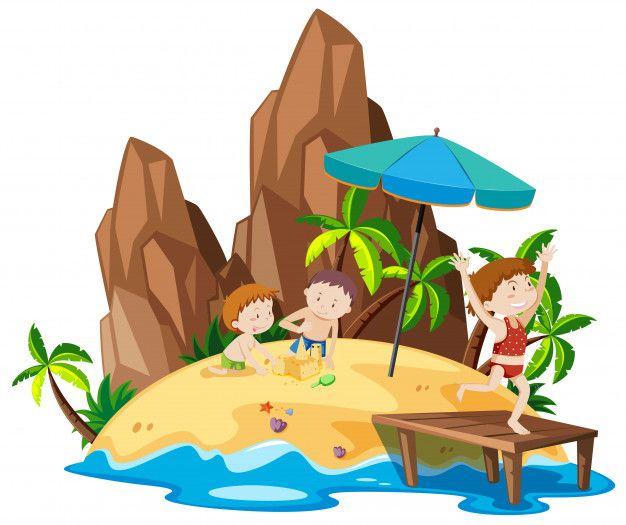 Gente En La Isla De La Playa Vector Gratuito Islas Vector Isla Playa