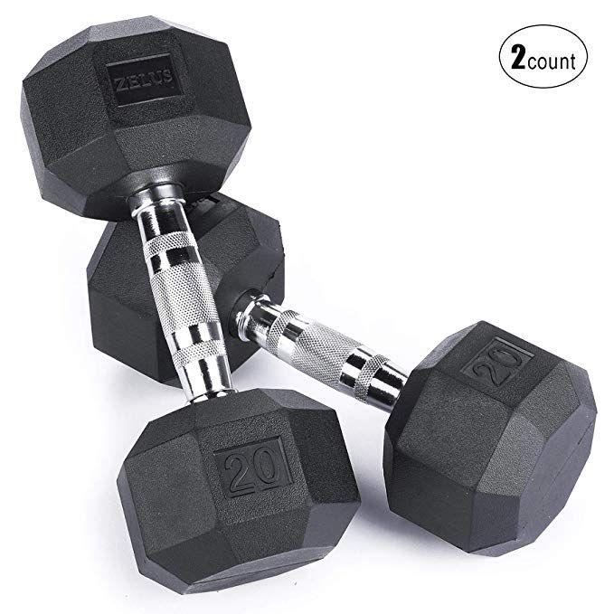 Z ZELUS Heavy Rubber Dumbbells Hand Weights with Metal