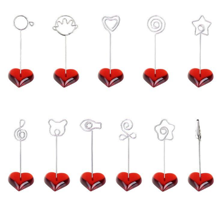 Rood F hart stand draad kaart note foto memo foto clip houder, tafel plaats gunst, aangepaste promotionele party huwelijkscadeau