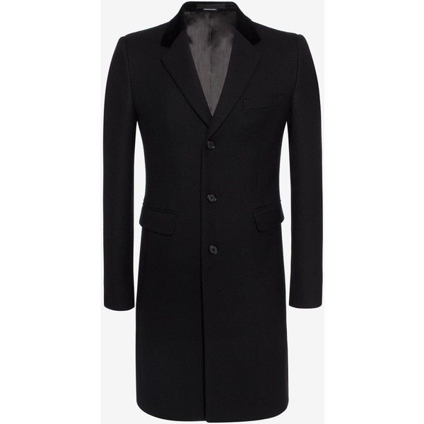 Alexander McQueen Silk Wool Fitted Coat ($2,545) ❤ liked on Polyvore featuring men's fashion, men's clothing, men's outerwear, men's coats, black, alexander mcqueen mens coat, mens silk sport coat, mens wool outerwear, mens single breasted wool coat and mens fur collar coat