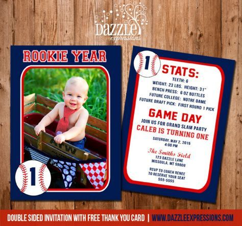 Printable Baseball Card Stats Birthday Photo Invitation | Rookie Year | Boy First Birthday Party Idea | Sports Party | FREE thank you card included | www.dazzleexpressions.com
