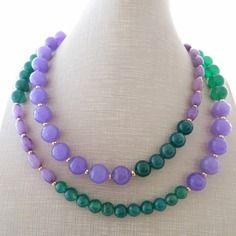 Collana agata viola e giada verde, gioielli pietre dure, bijoux alittlemarket.it fatti a mano