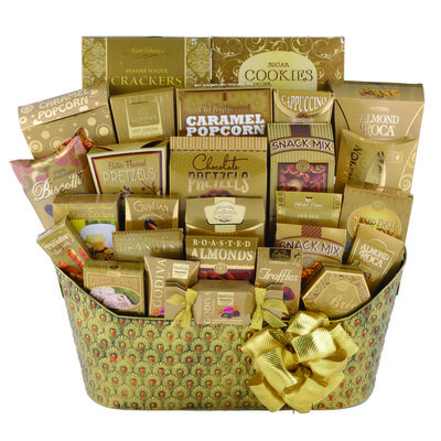 "#Gifts #Ottawa #Corporate Gifts #Sweet #Savoury; our ""Golden Collection""  simply Exquisite, gold themed Sweet and Savoury items, ideal for a larger group to share with a multi-purpose decorative tin!"