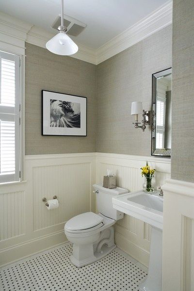 like the general feel of this one - grasscloth wallpaper in grey. chair molding, maybe a bit more white?, fixtures and sink are nice and a change from the other bathrooms, like the black and white photos, add in grey shower tiles for shower and vintage floor tiles. very grey and white - too grey and white?