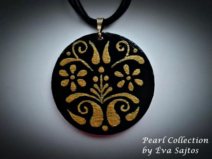 Black and gold handmade painted medal
