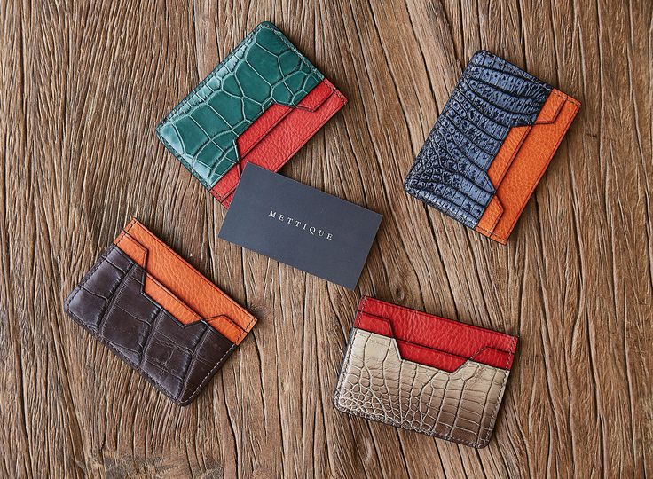 #METTIQUE #handstitch #leatheronly #METTIQUE Mini #TLS cardholders in #crocodile and wild #alligator with Italian cowhide lining, #handstitched with bees waxed thread. WWW.METTIQUE.COM