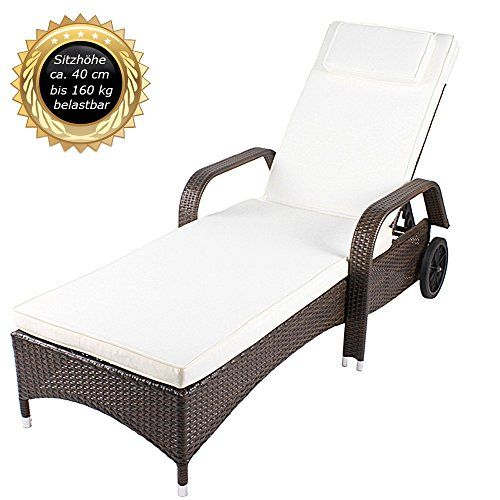toscana polyrattan garden pool sun lounger sun bed deck chair usable up to 160 kg - Garden Furniture Loungers