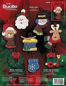 Bucilla Holly Jolly Felt Christmas Ornament Kit