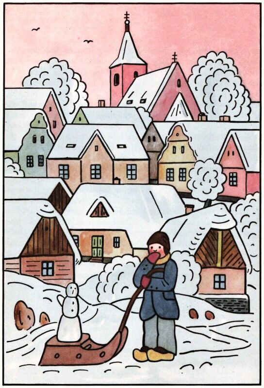 Snowman's sled adventure... (winter illustration, Dutch, Holland)