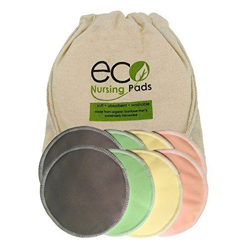 Washable Organic Bamboo Nursing Pads- 8 Pack (4 Pair) Reusable Breast Pads with Leakproof Back by EcoNursingPads