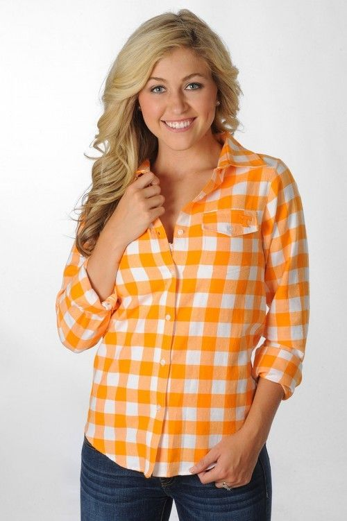 Tennessee Vols Plaid Button Down