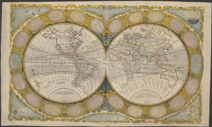 1790s double hemispherical map of the world, with relief shown pictorially. Map shows Trade Wind directions