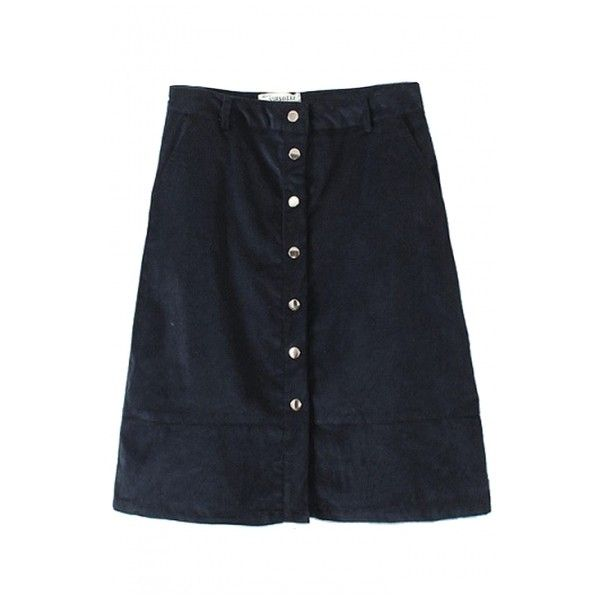 Plain High Waist Button A-Line Midi Skirt ($21) ❤ liked on Polyvore featuring skirts, button skirt, high waisted skirts, a line midi skirt, high waisted knee length skirt and high waisted a line skirt