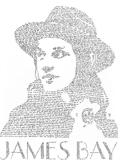 """James Bay"" by Michael Muir. Portrait featuring lyrics from the Chaos and the Calm album."